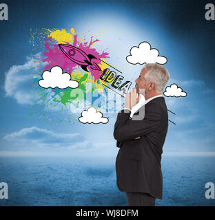 Composite image of thoughtful mature businessman posing on white background - Stock Photo