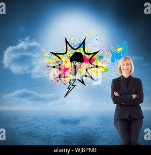 Composite image of attractive friendly businesswoman smiling at the camera in a meeting - Stock Photo