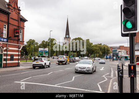 Parkgate in Darlington,England,UK with the main ring road and St. Cuthberts church in the background - Stock Photo