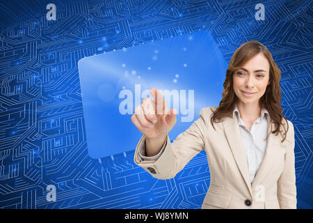 Composite image of portrait of businesswoman touching invisible screen on white background - Stock Photo