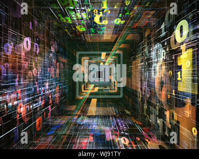 Number Tunnel series. Backdrop design of CPU chip, colorful numbers and fractal elements in perspective to provide supporting composition for works on - Stock Photo