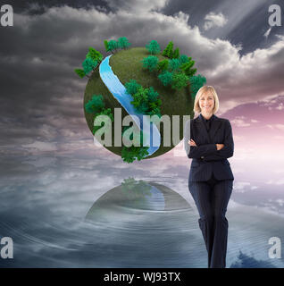 Composite image of attractive friendly businesswoman smiling at the camera in a meeting