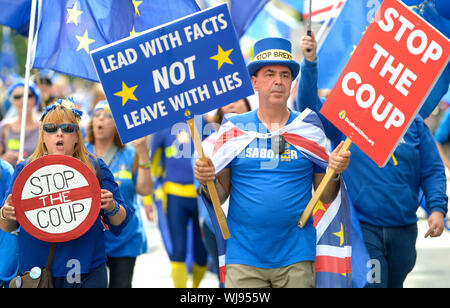 London, UK. 3rd September 2019. A Stop the Coup protest, led by Anti-Brexit campaigner Steve Bray, marches from Parliament Square to Downing street in reaction to Boris Johnson's handling of the Brexit crisis. Steve Bray at the front - Stock Photo
