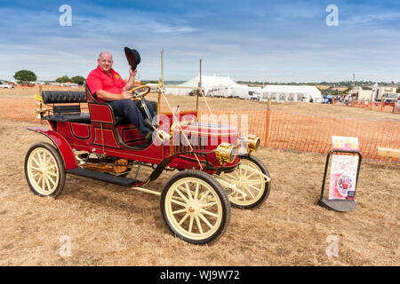 A 1909 Stanley steamer motor car at the 2018 Low Ham Steam Rally, Somerset, England,UK - Stock Photo