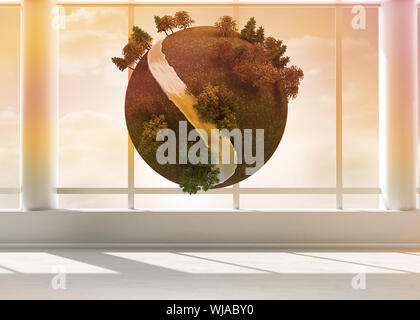 Digitally generated earth floating in room - Stock Photo