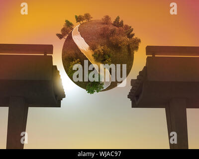 Digitally generated earth floating in sky - Stock Photo