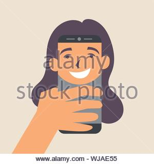 Female selfie face on smartphone. Photographer. Editable vector illustration - Stock Photo