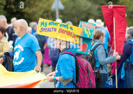 Excel Centre, London, UK. 3rd Sept, 2019. Protesters from various faith groups including Quakers for Peace block the road at outside the arms fair at Excel Centre. Penelope Barritt/Alamy Live News - Stock Photo