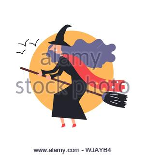 The fantastic character the witch flies sitting on a broomstick. Fairy tales. Halloween. Editable Vector Illustration - Stock Photo