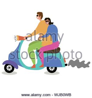 Couple in love riding a moped. Mass tourism. Inspire to travel. Vector editable file eps 10 - Stock Photo