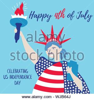 The Statue of Liberty congratulates America and the people on the holiday. Independence Day of America. July 4th is free America. Vector eps 10 file e - Stock Photo
