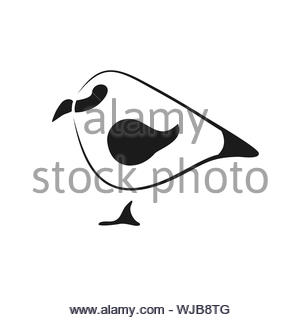 Minimalistic Sparrow logo in black smooth curved lines, vector logo - Stock Photo