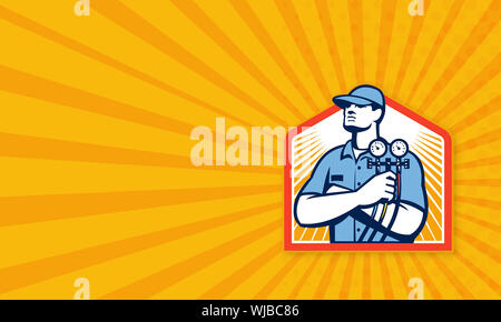 Business card template illustration of a refrigeration and air conditioning mechanic holding a pressure temperature gauge front view set inside shield - Stock Photo