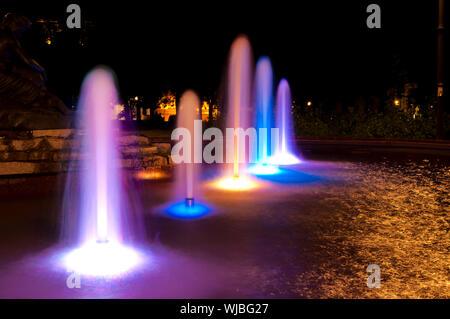 Night fountain in long exposure - Stock Photo