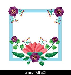 Isolated flowers frame vector design - Stock Photo