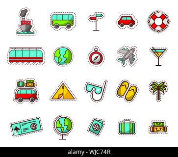 bundle of travel vacations holidays icons - Stock Photo