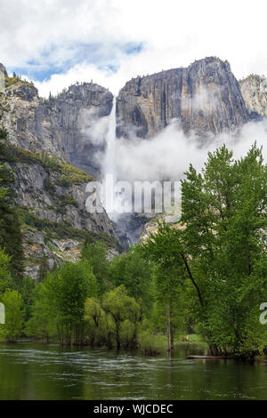 Granite mountains and waterfall in Yosemite National Park, United States - Stock Photo
