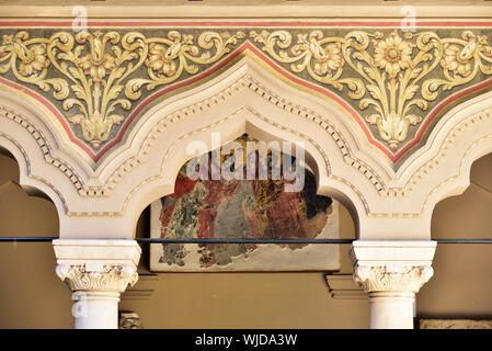 Detail of Stavropoleos Monastery Church, an Eastern Orthodox monastery for nuns in the old town of Bucharest. Romania - Stock Photo