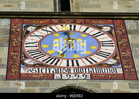 Detail of the former Council House, built in 1420, at Piata Sfatului (Council Square). Brasov, Romania - Stock Photo