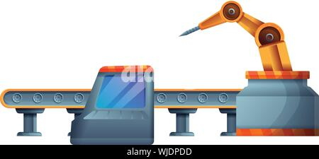 Car assembly line icon. Cartoon of car assembly line vector icon for web design isolated on white background - Stock Photo