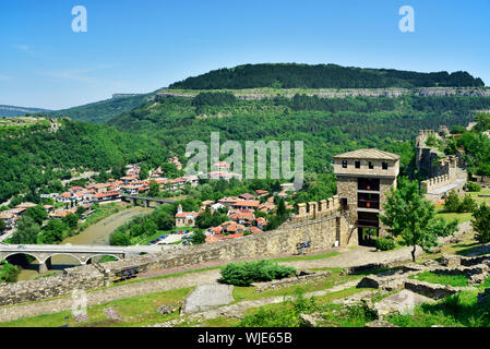 Tsarevets fortress and the Forty Martyrs Church, in the old Asenova quarter near the Yantra river. Veliko Tarnovo, Bulgaria - Stock Photo