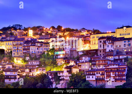 The old town, Varosha, of Veliko Tarnovo at dusk. Bulgaria - Stock Photo