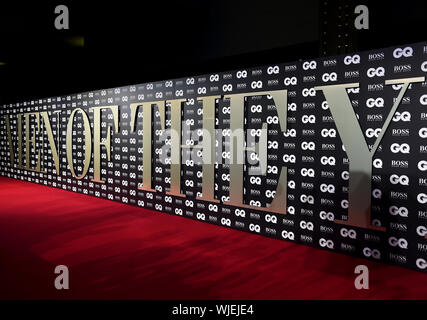 General view of the red carpet ahead of the GQ Men of the Year Awards 2019 in association with Hugo Boss, held at the Tate Modern in London. - Stock Photo