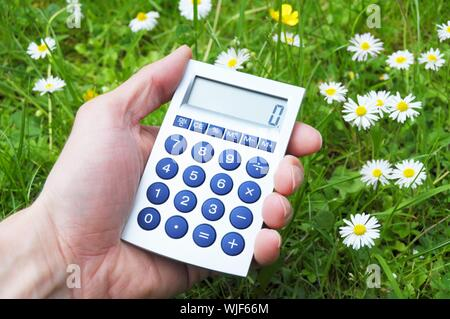 ecological accounting concept with calculator in green grass - Stock Photo