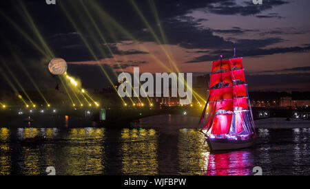 ST.PETERSBURG, RUSSIA - JUNE 24: Celebration Scarlet Sails show during the White Nights Festival, June 24, 2013, St. Petersburg, Russia. - Stock Photo