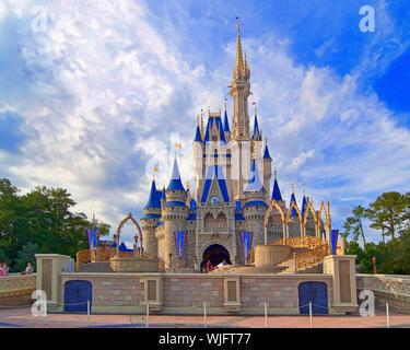Cinderella's castle in Magic kingdom, Disneyworld, Orlando - Stock Photo