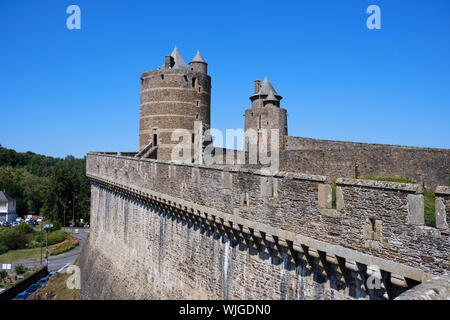 The fortified castle in Fougeres, France in Brittany - Stock Photo
