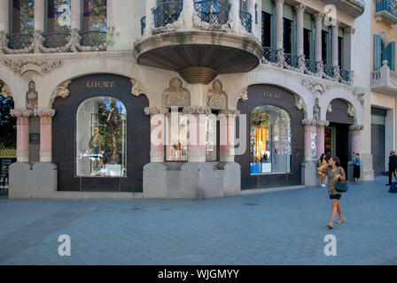 The Loewe Store Passeig de Gracia Barcelona Catalonia Spain exterior corner view spanish fashion house boutique luxury gifts apparel clothing leather - Stock Photo