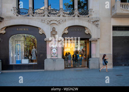 The Loewe Store Passeig de Gracia Barcelona Catalonia Spain exterior view facade doorway entrance spanish fashion house boutique luxury gifts apparel - Stock Photo