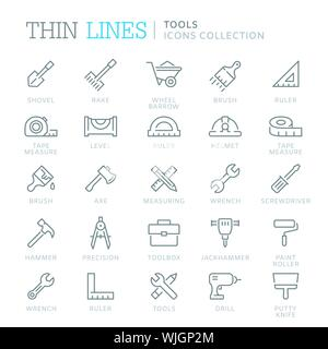 Collection of tools thin line icons - Stock Photo