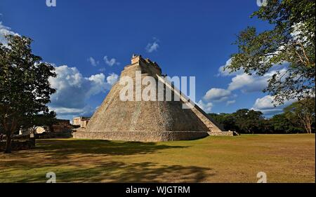Pyramid of the Magician in Uxmal, Mexico - Stock Photo