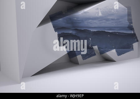 Abstract screen in room showing mountain - Stock Photo