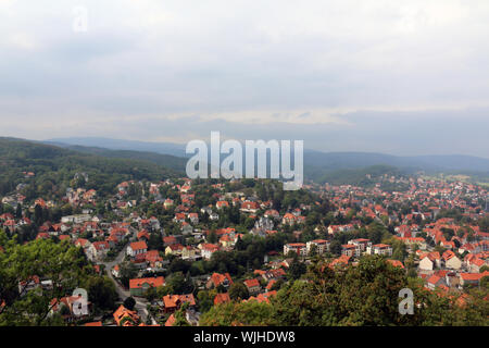 panorama of historical city wernigerode Castle in Saxony-Anhalt, Germany. - Stock Photo