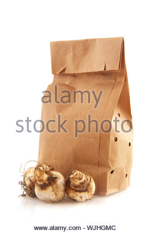 paper bags with flower bulbs isolated over white - Stock Photo