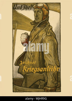 A German First World War Two poster featuring a pilot from the Deutsche Luftstreitkräfte (German Air Force) to buy War Bonds to support the country's war effort. - Stock Photo
