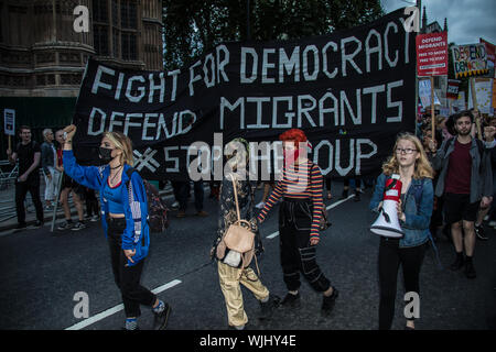 London, UK. 3 September, 2019. Protests against the Boris Johnson Government's decision to Prorogue Parliament continue in Whitehall as MP's vote to take control of Parliament business to attempt to stop a no deal crash out of Europe on 31 October. David Rowe/Alamy Live News. - Stock Photo