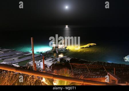 Scenic View Of Sea Against Moon At Night - Stock Photo