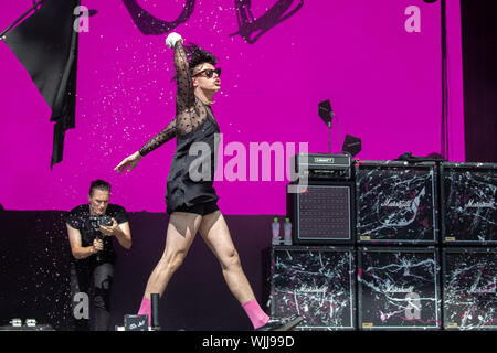 Leeds, UK. Friday 23 August 2019. Dominic Richard Harrison, known professionally as Yungblud, is an English singer, songwriter, and musician from Doncaster, South Yorkshire, England performing at Leeds Festival. The annual rock music festival Attended by 75,000, Taking place over August bank holiday weekend.   Credit: Jason Richardson/Alamy Live News - Stock Photo