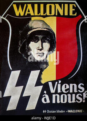 A World War Two recruiting poster produced by the Belgian  SS, aka the Walloon Legion, a collaborationist military formation recruited among French-speaking volunteers from German-occupied Belgium, notably from Brussels and Wallonia, during World War II.  Created in July 1941 shortly after the German invasion of the Soviet Union, the unit was supported by the Rexist Party as a demonstration of its loyalty towards Nazi Germany. It served on the Eastern Front, initially as a unit of the Wehrmacht and, after June 1943, in the Waffen-SS. - Stock Photo