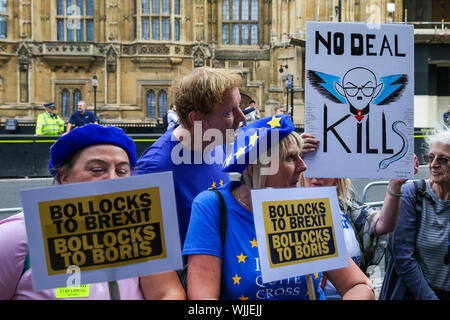 Anti-Brexit with placards demonstrating in central London on the day MPs return back to Parliament after the summer recess.On Monday 2 Sept 2019 British Prime Minister Boris Johnson warned Conservative MPs not to vote against the government in the next night's Bill that would block a no deal Brexit. Several MPs vowed to vote with the opposition regardless of the personal consequences. - Stock Photo