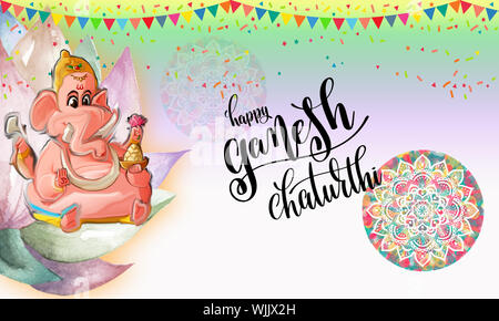 Ganesha Ceremony Greeting Card With Ganesha Watercolor Painting.Lord Ganesh On Divine Lotus.Festival Background With Party Flag Banner & Confetti.Idol. - Stock Photo