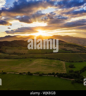 Sunset above Great Fatra Mountain in Slovakia - Stock Photo