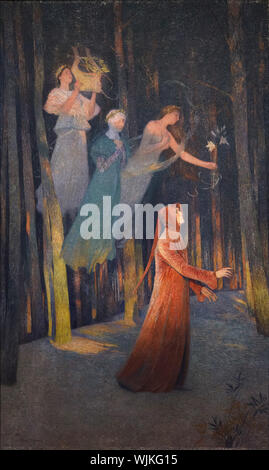 Painting 'Inspiration' by French Impressionist painter Henri Martin (1895) on display in the Museum of Fine Arts (Musée des Beaux-Arts de Lyon) in Lyon, France. - Stock Photo