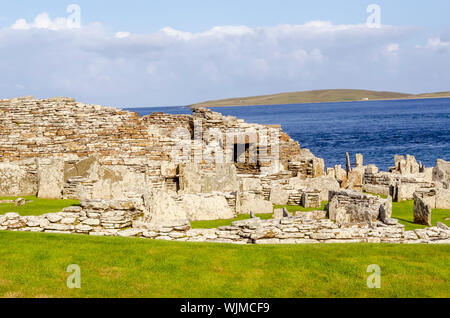 Broch of Gurness Entrance Orkney Islands, Scotland. A broch is a rounded Iron Age tower unique to Scotland. - Stock Photo