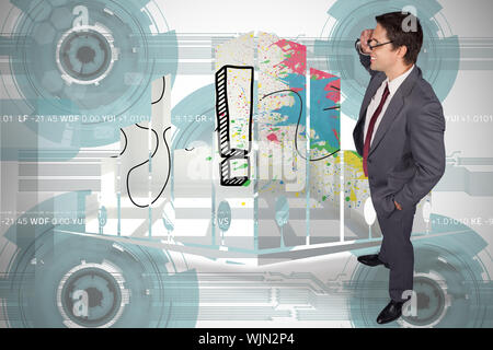 Thinking businessman touching his glasses against technology wheel background - Stock Photo