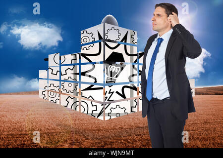 Thinking businessman scratching head against 3d plane taking off over cornfield - Stock Photo